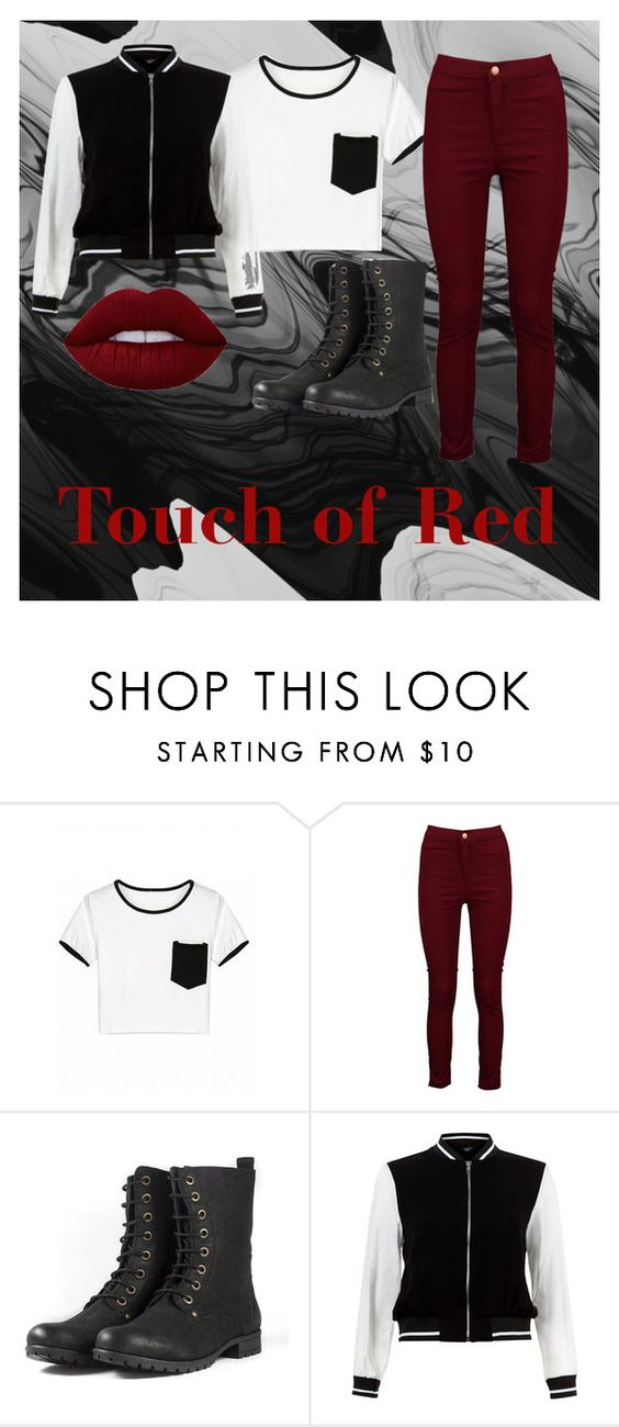 """""""Touch of Red"""" by mollyglueck ❤ liked on Polyvore featuring Boohoo, New Look and Lime Crime"""