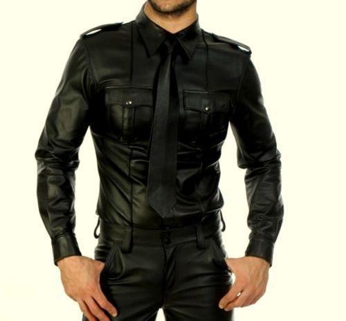 New Men/'s Genuine Real Black Sheep Leather Police Uniform Shirt Full Sleeves