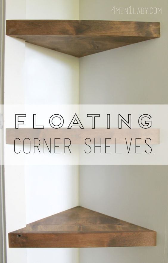 How to make floating corner shelves tutorial. 4men1lady.com