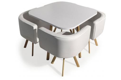 Table Avec Chaises Encastrables Scandinaves Blanc Copenhague Plus
