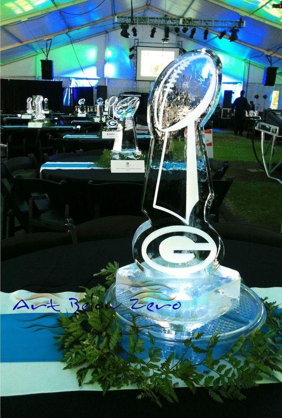Lombardi trophy ice centerpiece sculpture table