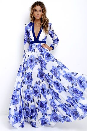 Galas and garden parties give you the perfect excuse to show off the Blossom Buddy Blue Floral Print Maxi Dress! Blue floral print blooms across ivory woven poly as it shapes a plunging V-neck (with three modesty clasps), and sheer long sleeves with button cuffs. Seamed bodice meets a banded waist, and maxi skirt. Hidden back zipper/clasp.