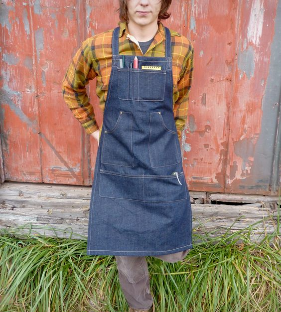 Unisex Denim Work Apron | This tough, denim apron is for all of the crafty, handi-workin... | Aprons