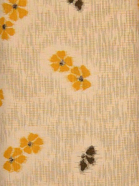 Textile Connection - Japanese Prints - Natural/ Yellow & Black floral (01,440)