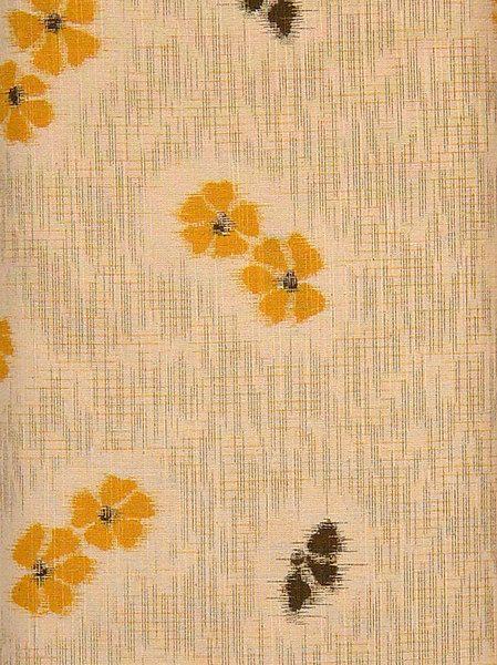 Textile Connection - Japanese Prints - Natural/ Yellow & Black floral (01,440)