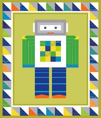 Robot quilt quilting like crazy pinterest kid quilt for Robot quilt fabric