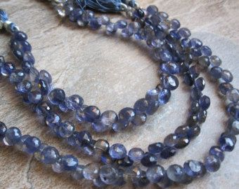 Iolite Beads Onion Briolettes, 7.5-8mm, Faceted Onion Drops, Midnight Blue, Loveofjewelry, SKU 2073A