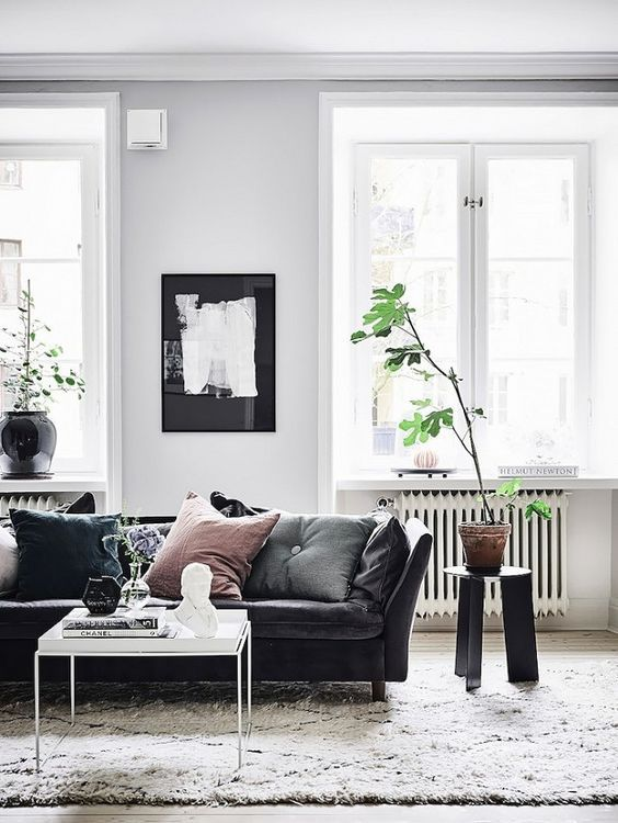 Scandinavian Living Room With Black Details With Images Leather Sofa Living Room Living Room Leather Couches Living Room