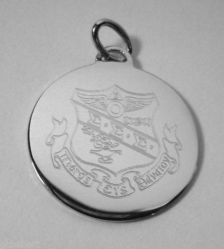 Tri Sigma Silver Crest Engraved Charm available in Good Things From Louisiana, an ebay store.