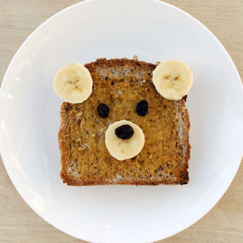 Bear sandwich!  Carter just looked at this and got upset because it wasn't cut into squares - lol!