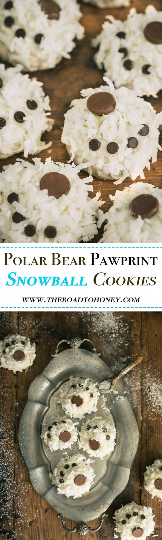 Polar Bear Pawprint SNOWBALL COOKIES -  are made of melt-in-your mouth nutty, buttery cookies that are lightly flavored with a hint of peppermint, then dipped in a creamy, white chocolate, coated with coconut & decorated with chocolate chips.  Perfect for holidays, winter themed parties, birthday parties, and snow days.  Click for RECIPE.
