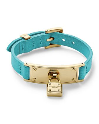 Michael Kors Leather Wrap Padlock Bracelet, Turquoise/Golden. for Rebecca