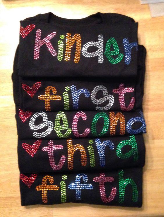 Teacher School Grades Rhinestone T Shirt by Wrhinestoner on Etsy