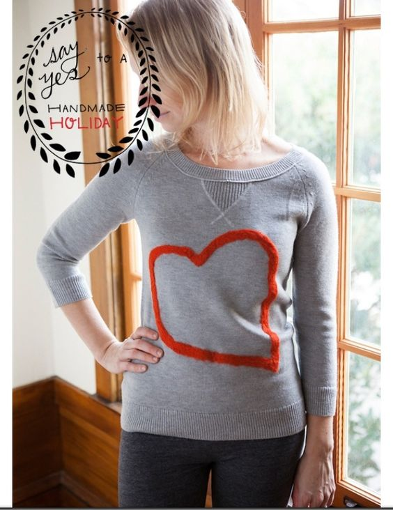 Felt heart sweater