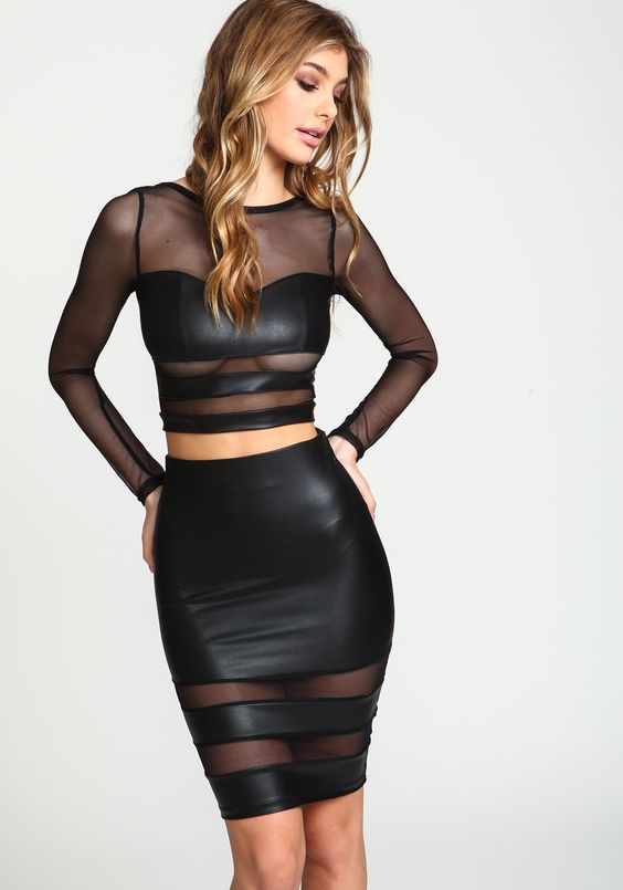 shadow stripes leather mesh crop top