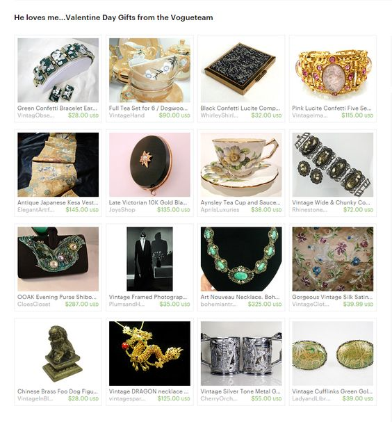 He loves me...Valentine Day Gifts from the Vogueteam. Say I love you with vintage. Some of the stunning pieces you will find searching the VIntage Vogueteam. Curator: Cleaver White from https://www.etsy.com/shop/LaytonandEverett #etsy #treasury #valentineday #gifts #vintage #antique #jewelry #homedecor #fashion