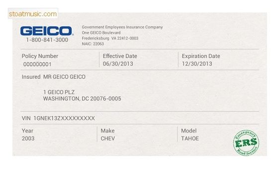 Fake Geico Insurance Card Template Stoatmusic In Insurance Card