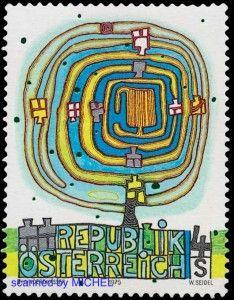 Friedensreich Hundertwasser erste Briefmarke 1975 in Österreich