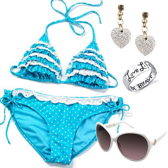 Blue Ruffle Polka Dot Bikini with #JessicaSimpson sunglasses. Love life, Be Brave.