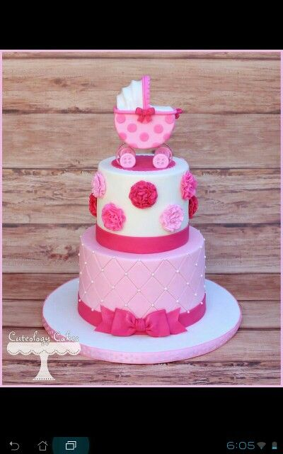 Pink Carriage Baby Shower cake