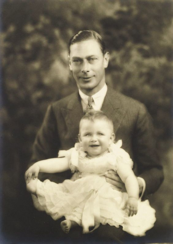 Princess Margaret with her father, King George VI, ca. 1930