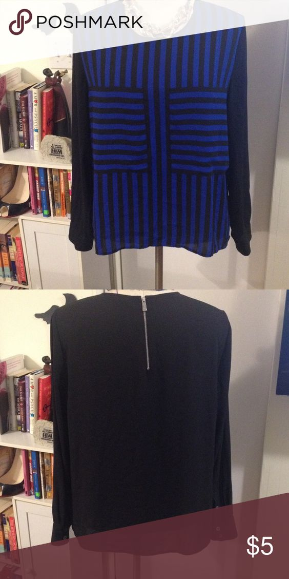 Black & Blue Stripped Hi-low Blouse Above is a hi-low, black and blue, stripped, long sleeved blouse. -FYI-The shirt does not have a size attached. I am assuming the shirt will fit a size L/XL. The necklace is not included. Vince Camuto Tops Blouses
