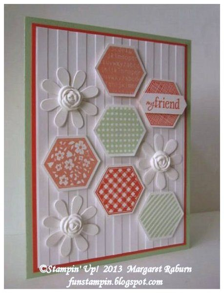 Six Sided Sampler-Stamps: Six Sided Sampler Paper: Whisper White, Pistachio Pudding, Calypso Coral, Crisp Cantaloupe Ink: Pistachio Pudding, Calypso Coral, Crisp Cantaloupe Accessories: Hexagon punch, Blossom Party die, Simply Pressed Clay & Flower Mold, Stripe TIEF, Big Shot, Dimensionals   -