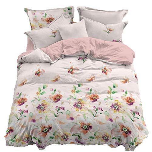 Beddingwish Modern Duvet Cover Set Lightweight Soft Light And Soft Peach Skin Cashmere Colorful Flower Hot King Bedding Sets Luxury Bedding Modern Duvet Covers