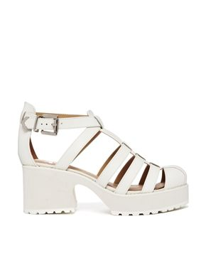 Image 1 of Shelly's London Kaplow White Leather Gladiator Heeled ...