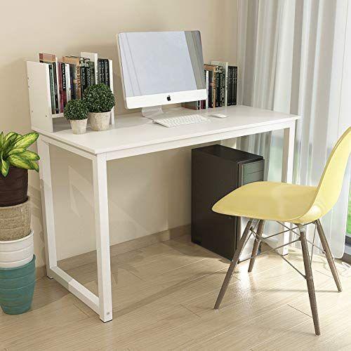 Qihang Us White Wood Computer Desk Office I Shaped Table Desk