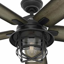 Damp Outdoor Indoor 54 Burnished Ceiling Fan Remote Industrial Cage Patio Light Rustic Ceiling Fan Farmhouse Ceiling Fan Outdoor Ceiling Fans