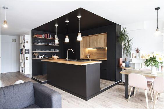 Cuisine en U ouverte pour tout espace- 60 photos et conseils - kche schwarz matt