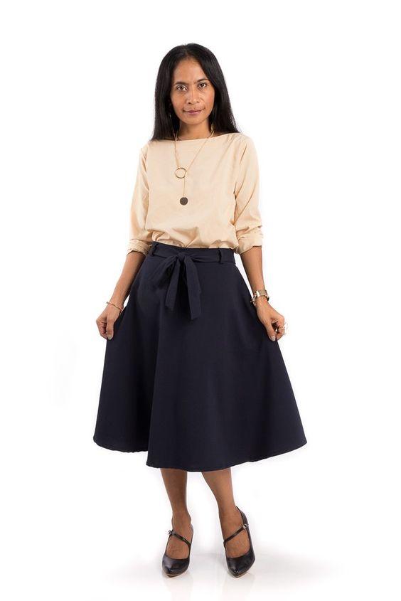 Blue Skirt, Navy Blue skirt, Midi Skirt   My Designs   Pinterest ...