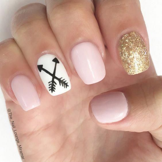 Cool Pink Gold Awesome Spring Nails Design For Short Nails Easy Summer Nail Art Ideas Read More By Lmarkovic Arrow Nails Nail Designs Short Nail Designs