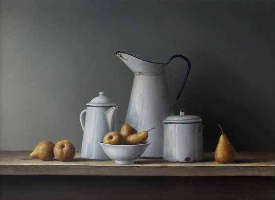 Pears and White Enamelware