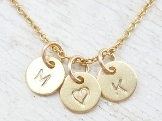 Initial Necklace Alphabet Necklace Initial Heart Necklace by LAVU