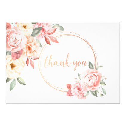 Thank You Floral In Pink Invitation Zazzle Com In 2020 Vintage