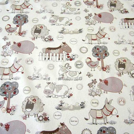 Stoff Tiermotive - Stoff Baumwolle Bauernhof Tiere beige Esel Kuh Neu - ein Designerstück von werthers-stoffe bei DaWanda
