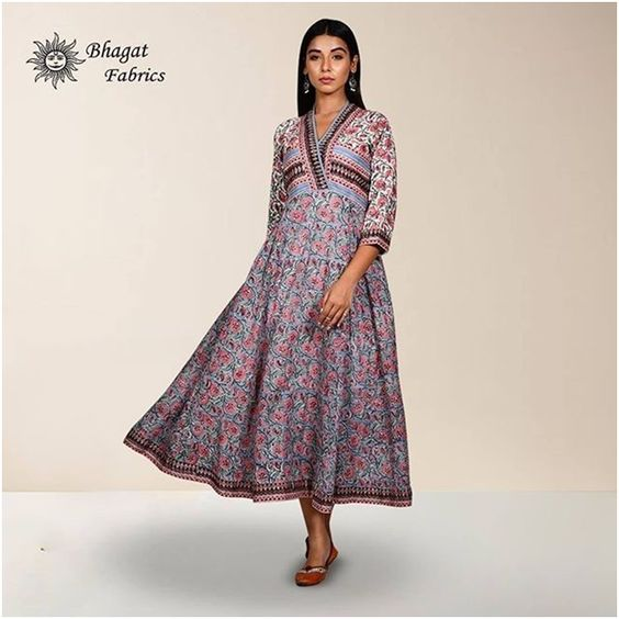Grey Pink Jaal Voil Mulmul Block Printed Dress- Bhagat Fabric