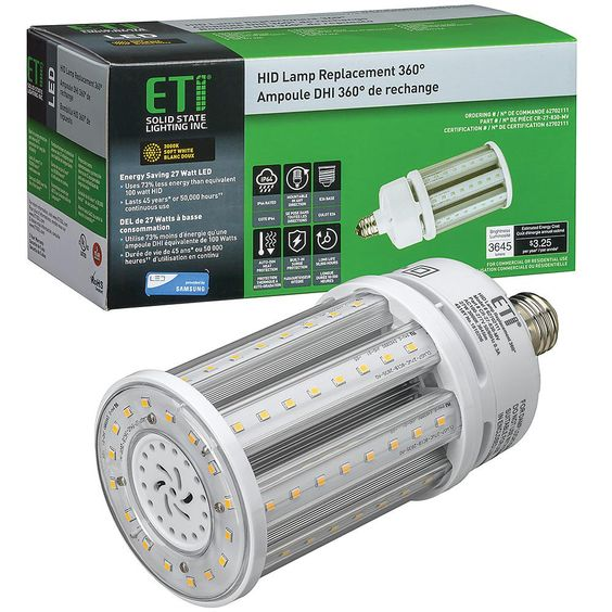 Eti 8 In 100 Watt Equivalent Corn Cob E26 Led Light Hid Replacement 360 Degree 27 Watt 3645 Lumens 3000k Soft White 62702111 Led Strip Lighting Packing Light