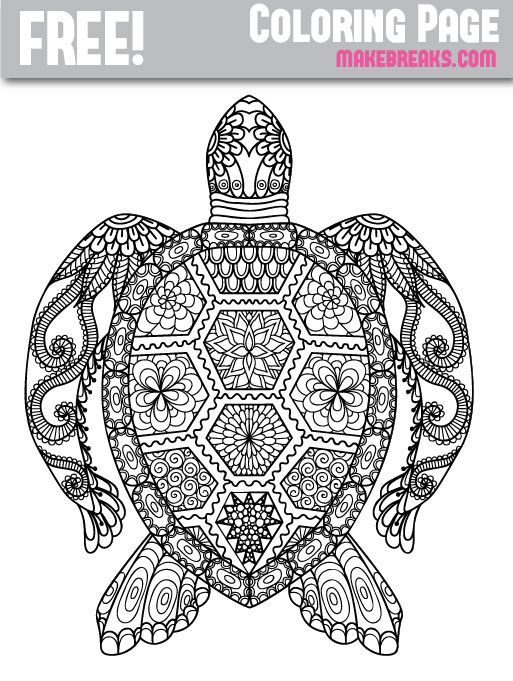 Free Patterned Turtle Coloring Page Make Breaks Turtle Coloring Pages Animal Coloring Books Mandala Coloring Pages
