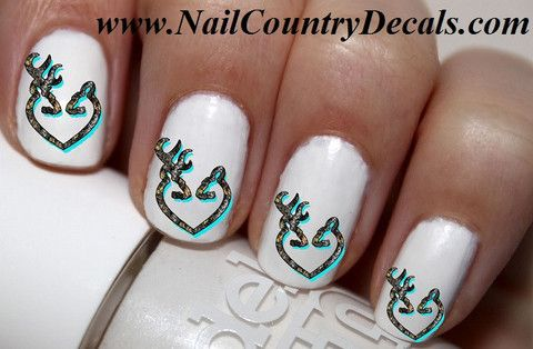 50 pc Blue Teal RealTree Mossy Oak DBL Browning Nail Decals Nail Art Nail Stickers Best Price NC516
