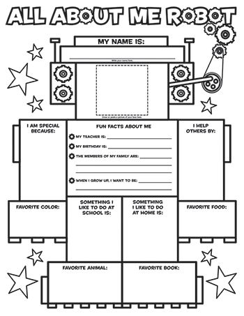 Printables All About Me Worksheet Middle School all about me robot great icebreaker worksheet i dont know if know