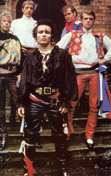 Adam Ant's back on tour. Loving the frilly pirate shirt and leather trousers combo. Dandy highwaymen indeed