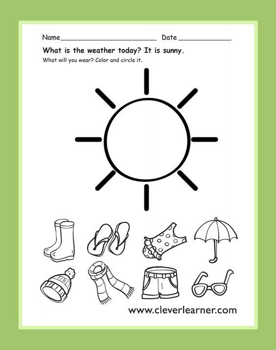 The weather today is sunny! #preschool-weather-activity #preschool-weather-worksheet