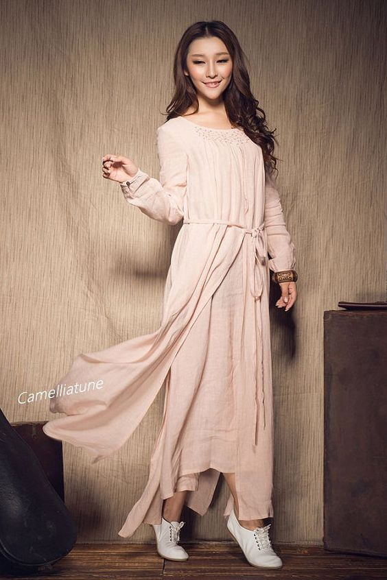 Embroidery Linen Dress in Pink / Layered Maxi от camelliatune