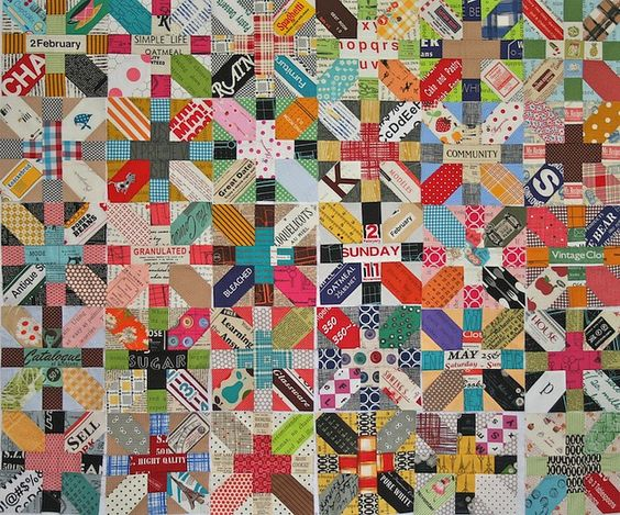 Scrappy japanese x-block quilt: