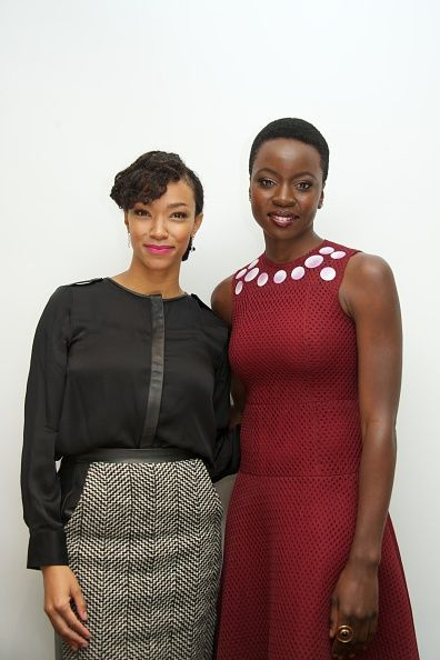 Sonequa Martin-Green and Danai Gurira at 'The Walking Dead' Press Conference at the Four Seasons Hotel on April 20, 2015 in Beverly Hills, California