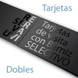 Imprimir Tarjetas de Visitas Dobles con Reserva de Barniz UVI en La Gran Imprenta Online