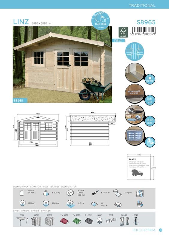 Abri de jardin 34 mm SOLID 390x390 Linz rocher edith Pinterest